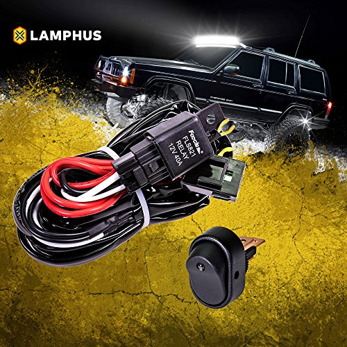 LAMPHUS 12V 40A Off Road ATV/Jeep LED Light Bar Relay Wiring Harness Kit - Blue Mini ON/Off Switch ()