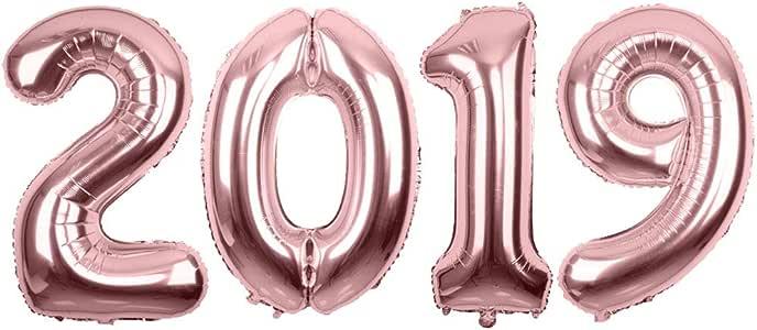 Amazon.com: 2019 Rose Gold Mirror Mylar Balloons for New ...