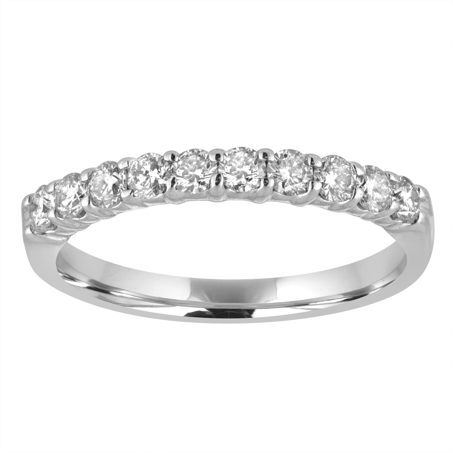 1/2 CT Diamond Wedding Band in 14K White Gold Size 6.5 by Vir Jewels