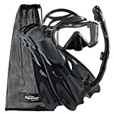 Phantom Aquatics Legendary Mask Fin Snorkel Set with Mesh Bag, All Black, Medium/Large