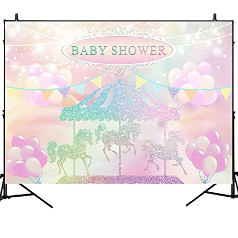 c96eb02781 Amazon.com : Mehofoto Carousel Baby Shower Backdrop Pink Balloon ...