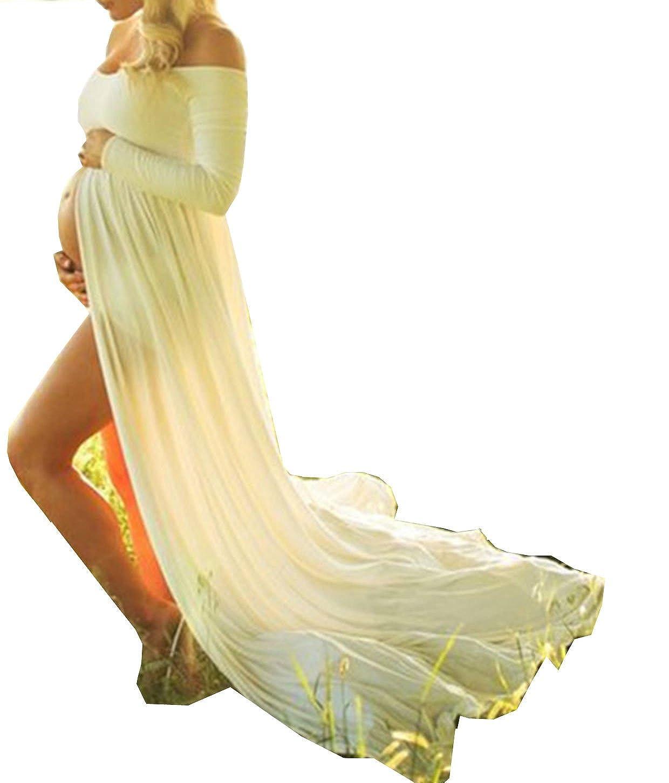 D-Pink Womens Maternity Long Chiffon clothes motherhood Photography Clothing Maxikleid. DEFZ037