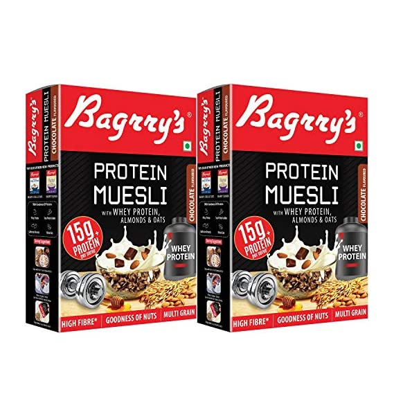 Bagrry's Protein Muesli with Whey Protein , Almonds and Oats, 500g (Pack of 2)
