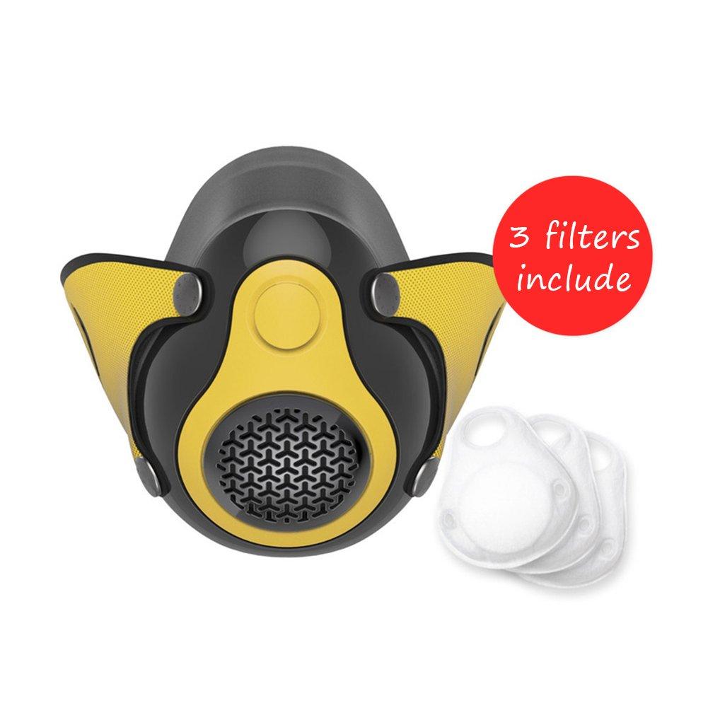 Neue Höhen-Trainingsgerät Sauerstoff Atmende Gesichtsmaske 2.0 Für Fitness-, Cardio-, Fitness-, Lauf-, Ausdauer- Und HIIT-Training [16 Atemniveaus],Yellow LOERO