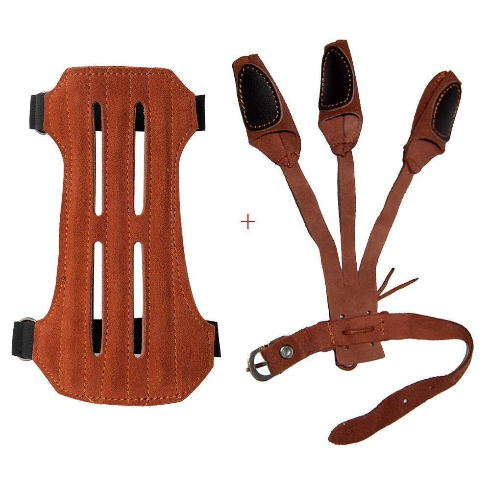 Kunzite Leather 2 Straps Arm Guard & 3 Finger Protective Gloves for Recurve Compound Long Bow Hunting Shooting Practice