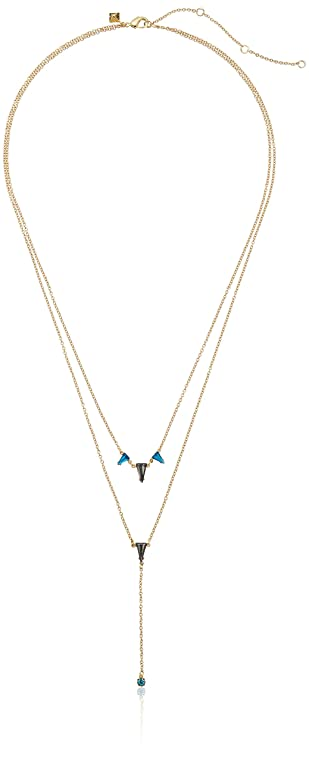 Rebecca Minkoff Gem Stone Two Row Lariat Necklace in Metallic Gold 1HHAvHxXHl