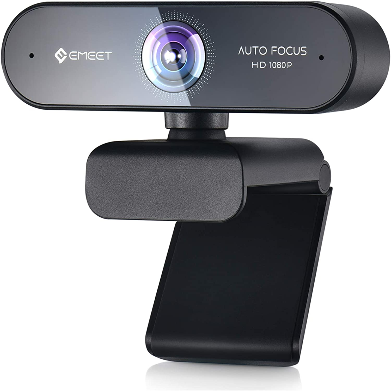 Webcam with Microphone – Autofocus Webcam eMeet Nova 75° View Portable Webcam 1080P w/2 De-Noise Mics, Plug & Play USB Webcam with Universal Clip for Screens & Tripods, Streaming Webcam