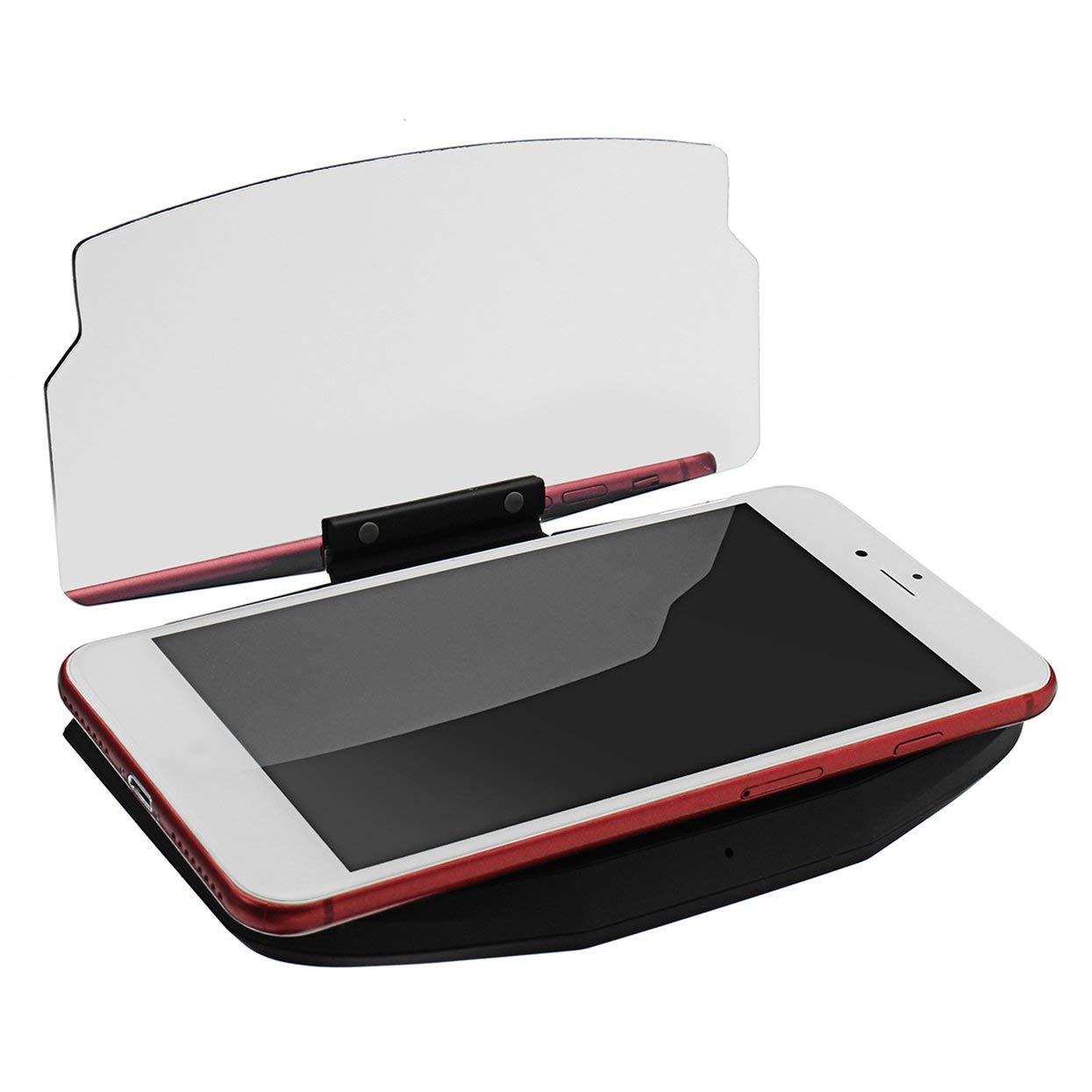 Tellaboull for Caricabatterie Wireless Qi Pad Antiurto Dock di Ricarica Supporto per Display di Navigazione Rotazione di 180 /° HUD per Auto Head Up indicatore Luminoso a LED