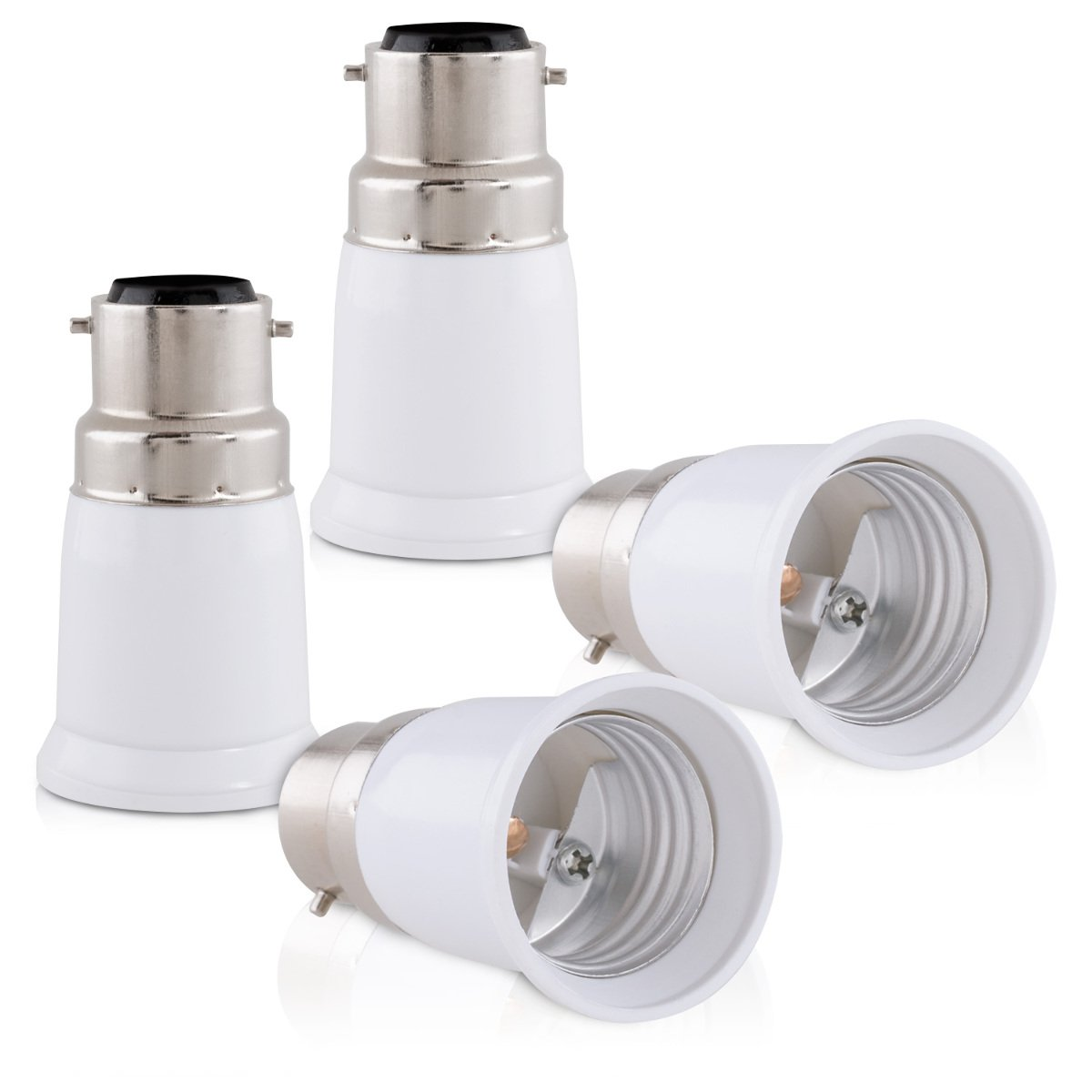 Z/ócalos para l/ámparas LED hal/ógenas y de Ahorro Adaptador conversor de Montura B22 a Casquillo E27 kwmobile 4X Casquillos de l/ámpara