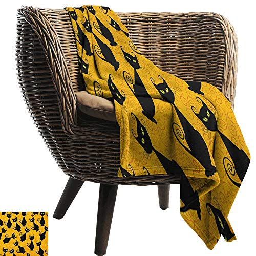 warmfamily Reversible Blanket Vintage Black Cat Pattern for Halloween on Orange Background Celebration Graphic Patterns Cozy for Couch Sofa Bed Beach Travel60 Wx60 L -