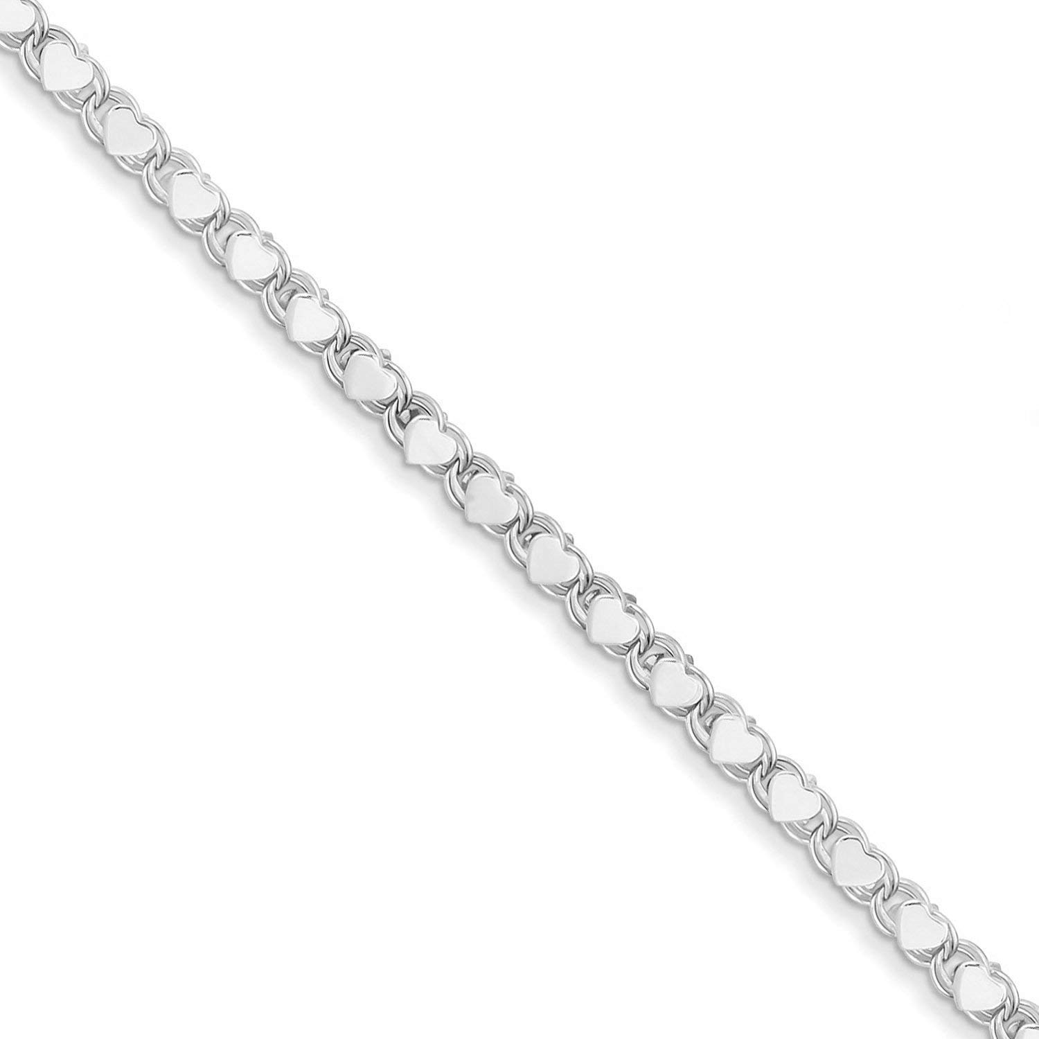 14K Yellow or White Gold 2.9mm Shiny Heart Chain Necklace or Bracelet Bangle or Anklet for Pendants and Charms with Lobster-Claw Clasp 5.5 7, 10, 16, or 18 inch