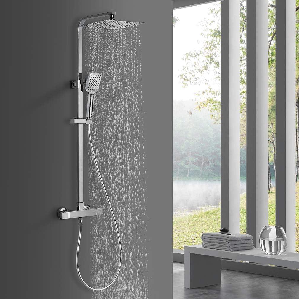 BONADE Sistema de ducha con termostato conjunto de ducha de lluvia de 10 pulgadas ducha de columna de ducha de acero inoxidable con barra de ducha ajustable ducha de mano con 3 modos de rociado