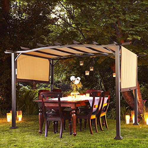 COSTWAY Pergola Outdoor Steel Frame Patio Sun Shelter Retractable Canopy Shade, As The by COSTWAY (Image #1)