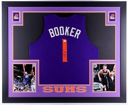 7112d9afebe0 Devin Booker Autographed Signed Suns Custom Framed Jersey (Size XL) - JSA  Authentication