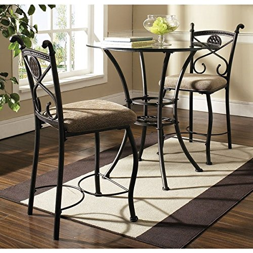 Greyson Living Browning Dark Brown and Beige-upholstered Pub Table Set (Glass Top Pub Table Sets)