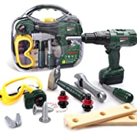 HomeMall Kids Tool Set, Toy Tool Set with Power Toy Drill Contains Tool Box and Toy Wrench, Hammer, Goggles and More…