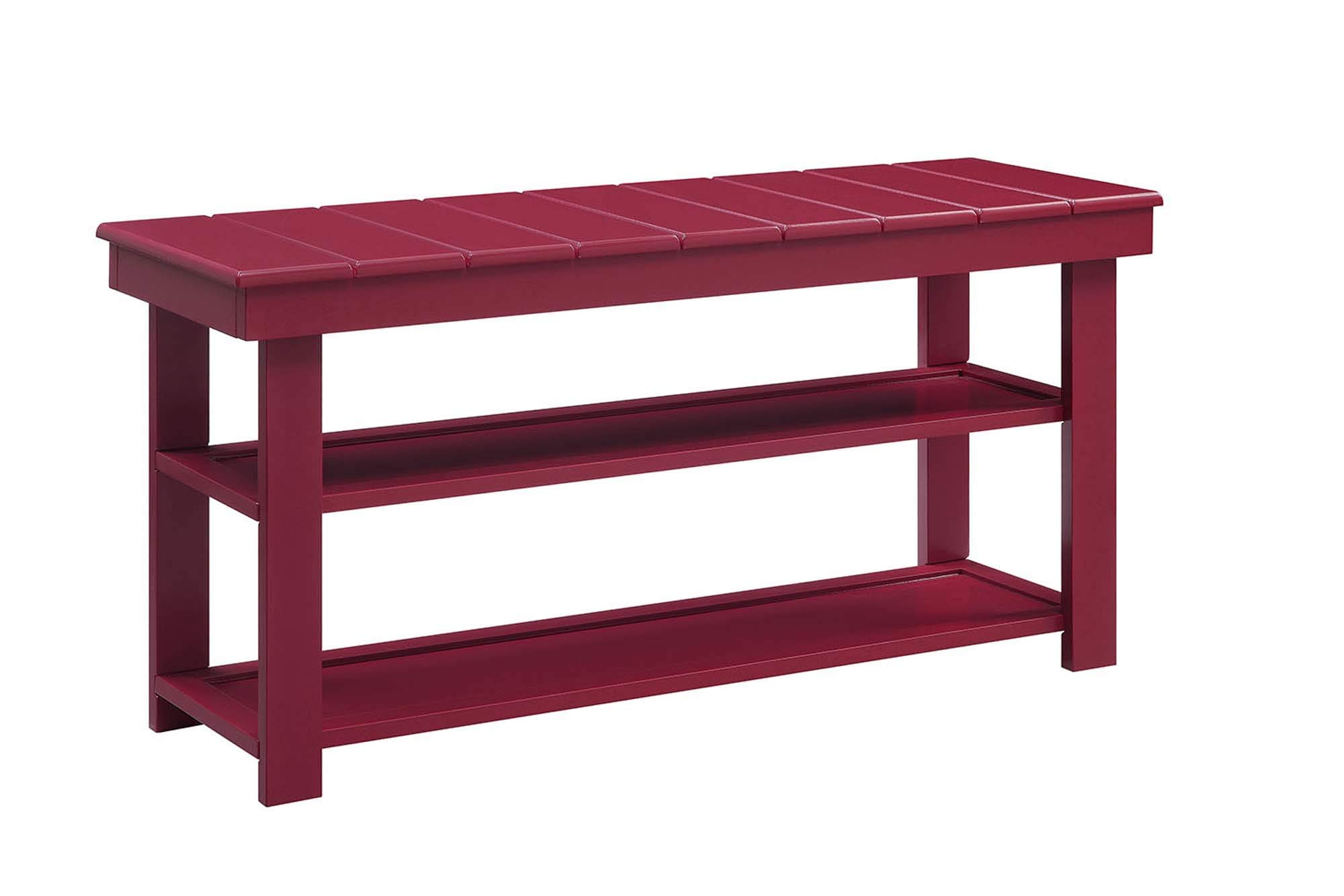 Convenience Concepts Oxford Utility Mudroom Bench, Cranberry Red by Convenience Concepts