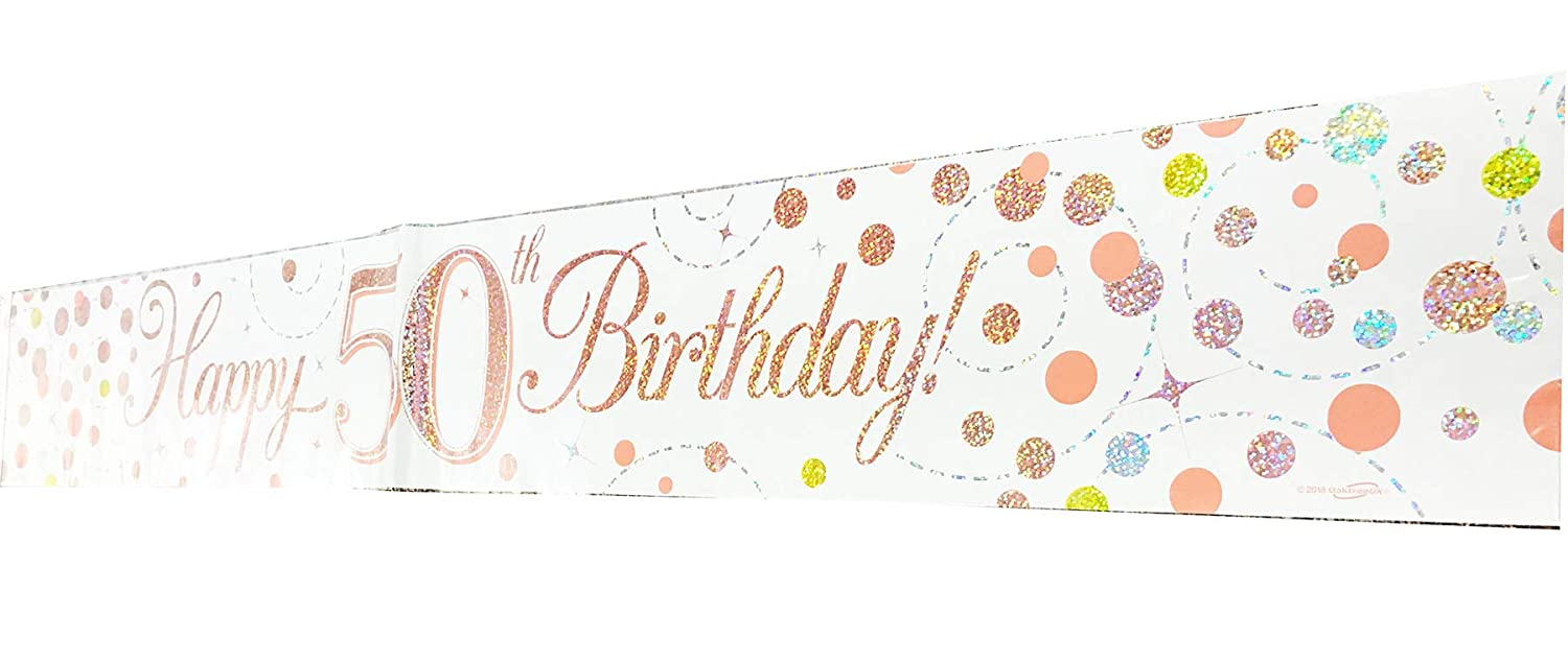 Neon Candy 50th Birthday Decoration Kit Banner Bunting Confetti Rose Gold Him Her Men Women