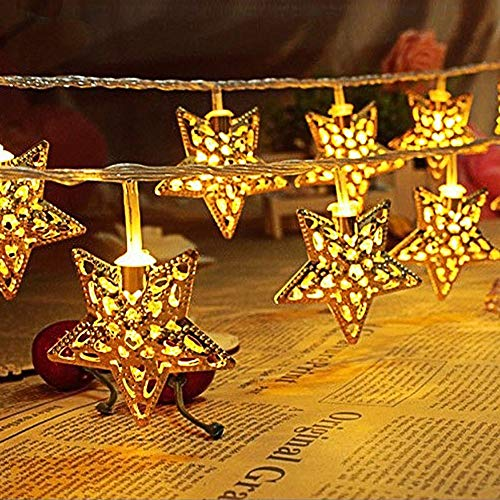 PESCA Metal Star Shaped Serial String 16 LED Light for Decoration Lighting (3 m, Warm White)