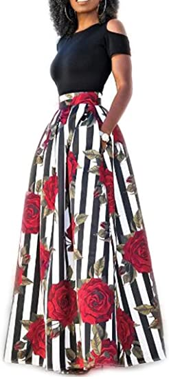 2c7c2c2ca648c1 Image Unavailable. Image not available for. Color: Evesymil Women Off  Shoulder Crop Top Rose Floral Print Pockets Maxi Skirt Two Pieces Set Print