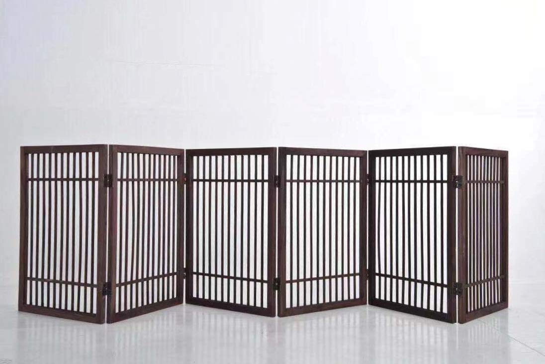 6 Panel Solid Wood Folding Pet Dog Gate Strong and Durable with 2 Way Hinges