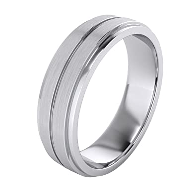 6d834ed698af8 Heavy Solid Sterling Silver 6mm Unisex Wedding Band Comfort Fit Ring  Brushed Raised Center Grooved Polished Sides