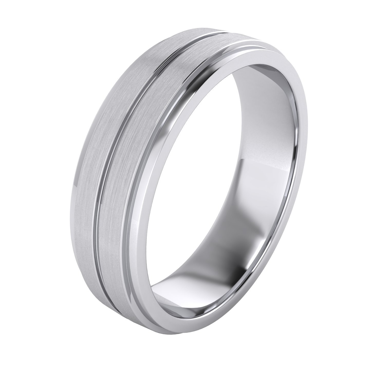 Heavy Solid Sterling Silver 6mm Unisex Wedding Band Comfort Fit Ring Brushed Raised Center Grooved Polished Sides (11.5)