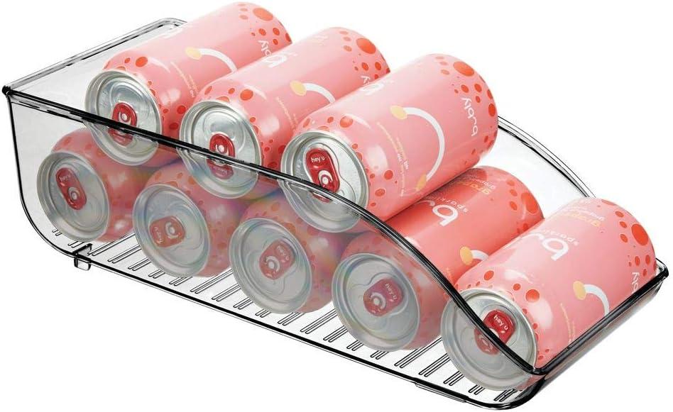 "mDesign Large Plastic Pop/Soda Can Dispenser Storage Organizer Bin for Kitchen Pantry, Countertops, Cabinets, Refrigerator - BPA Free, Food Safe - 13.5"" Long - Smoke Gray"