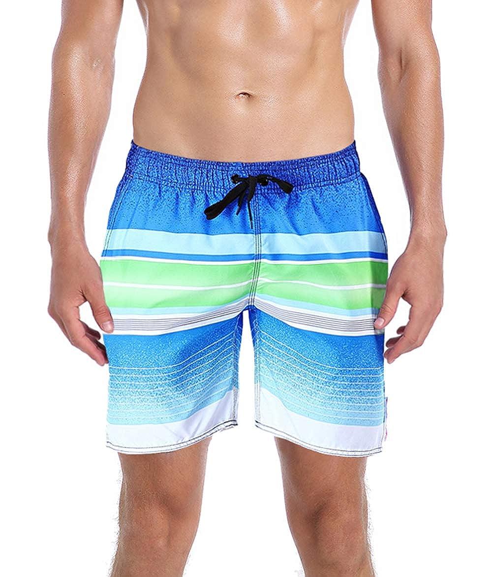 ORANSSI Shorts de baño para hombre bañador de malla a rayas