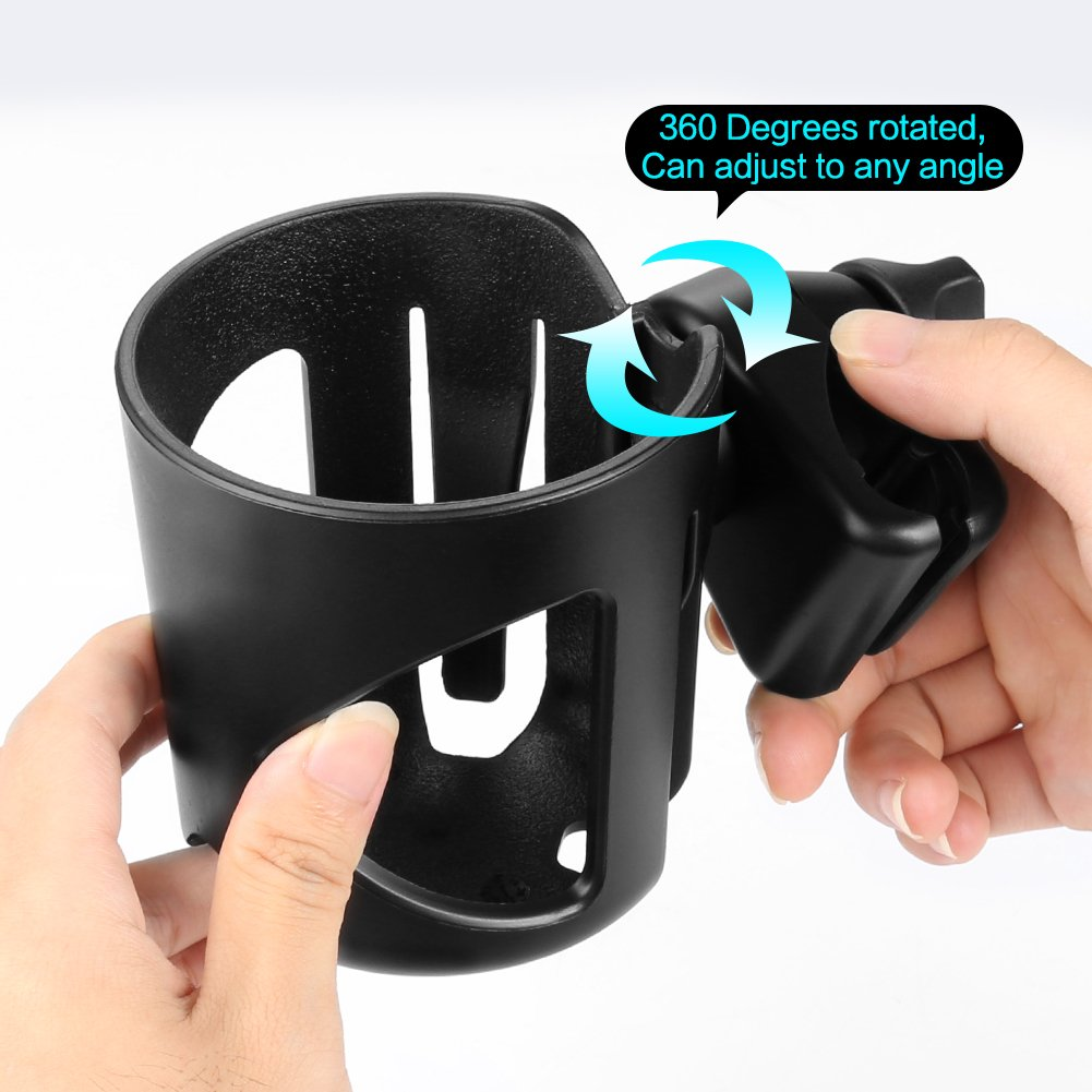 Universal Cup Holder by Accmor, Stroller Cup Holder, Large Caliber Designed Cup Holder, 360 Degrees Universal Rotation Cup Drink Holder, Black, 2 Pack by Accmor (Image #5)