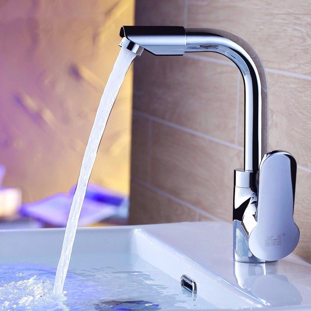 Hlluya Wasserhahn für Waschbecken Küche Die handwaschbecken Pool Hahn Hahn Hahn voll Kupfer Dicke Keramik Waschbecken und kalten Wasserhahn Einzelne Bohrung Drehen. 19995f