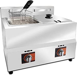 10 / 20L Large Capacity Gas Deep Fryer,Commercial Electric Fryers With Colander Skillet Heads And Pulse Ignition For Cooking Food And French Fries Home Restaurant Chicken 1111