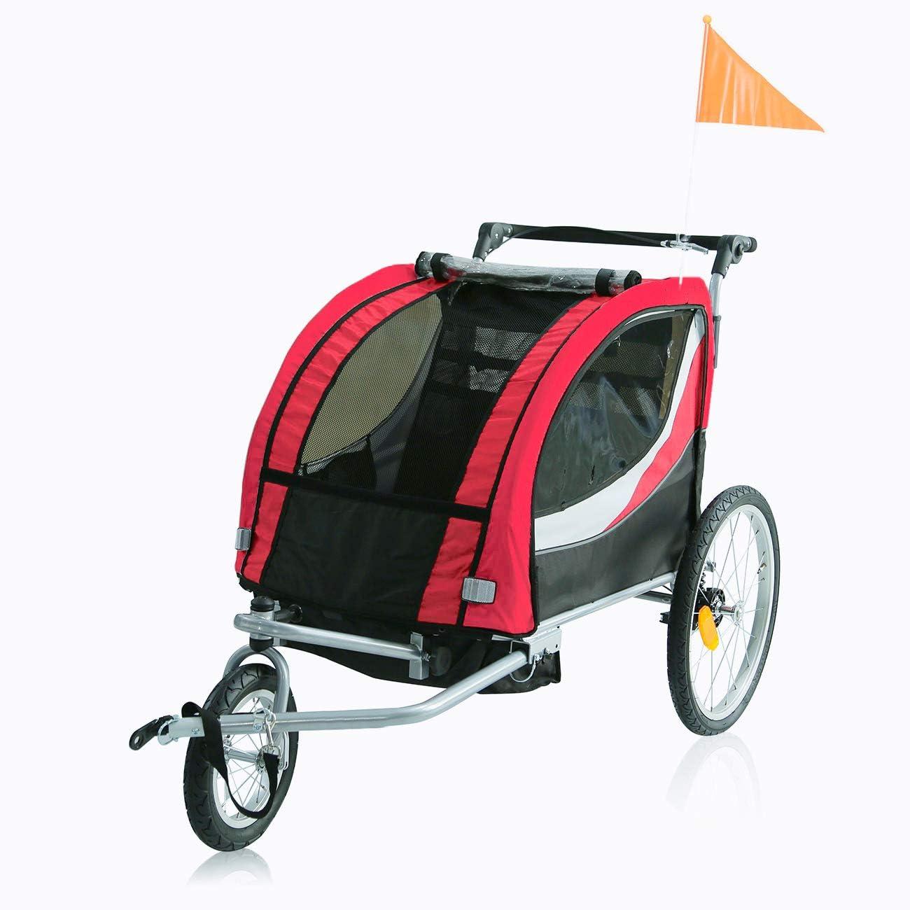 SAMAX PREMIUM Remolque de Bicicleta para Niños 360° girable Kit de Footing Transportín Silla Cochecito Carro Suspensíon Infantil Carro in Rojo/Gris - Silver Frame: Amazon.es: Bebé