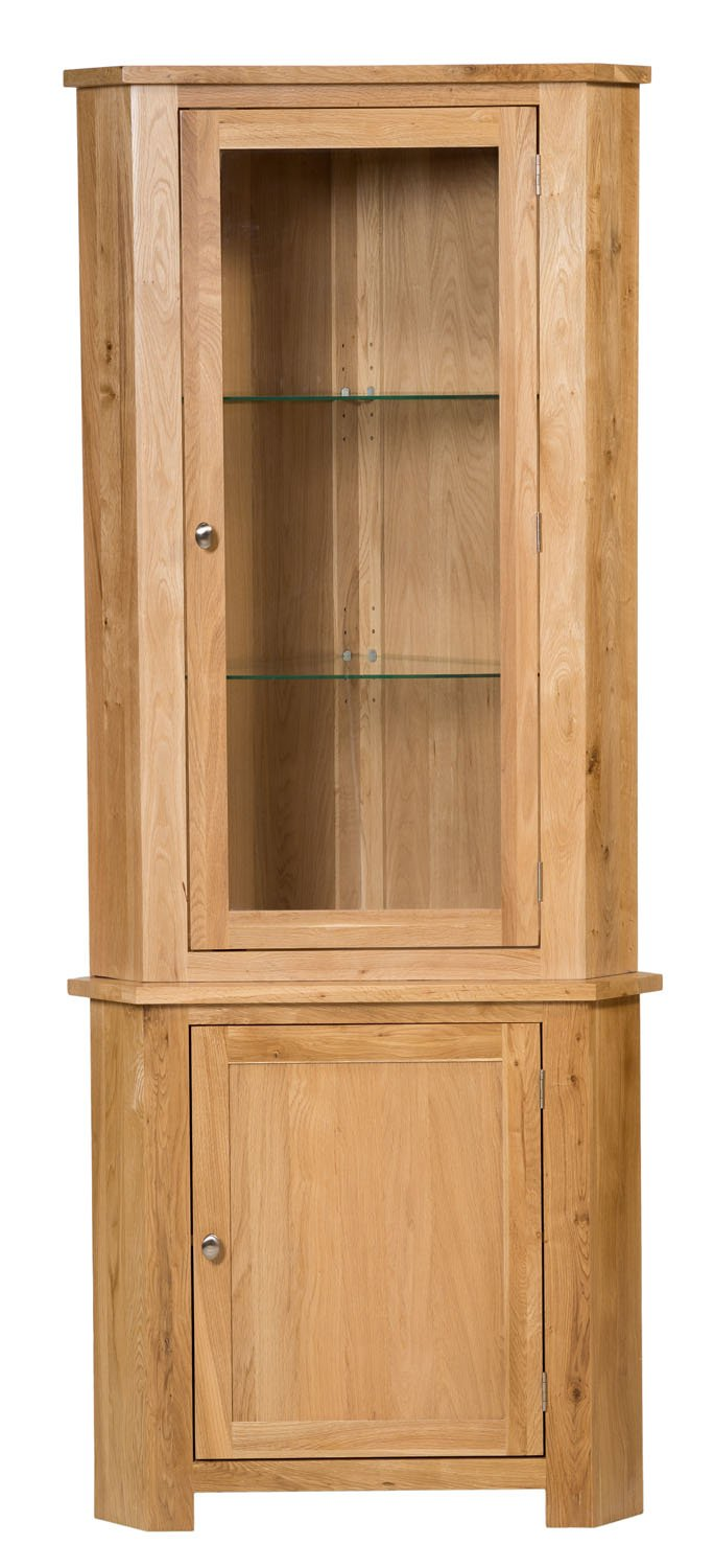 Waverly Oak Large Corner Display Cabinet In Light Oak Finish | Storage  Cupboard With Shelf | Solid Wooden Unit: Amazon.co.uk: Kitchen U0026 Home