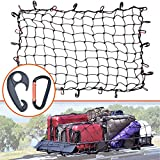 3'x4' Super Duty Bungee Cargo Net Stretches to 6'x8' for Oversized Rooftop Cargo Rack & Small Trucks | Narrow 3'x3' Grid Holds Small & Large Loads Tighter | 12 Tangle-free 3' Carabiners + 12 ABS Hooks
