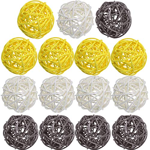 Yaomiao 15 Pieces Wicker Rattan Balls Decorative Orbs Vase Fillers for Craft, Party, Valentine's Day, Wedding Table Decoration, Baby Shower, Aromatherapy Accessories, 1.8 Inch (Yellow Gray White) (And Gray Yellow Vases)