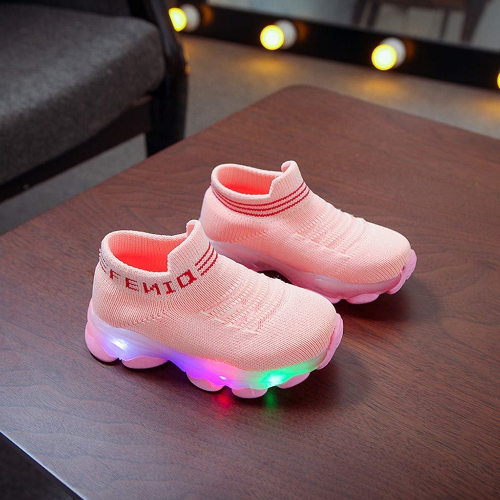LEEDY Cute Children LED Ligh Toddler Kid Colorful Light up Shoes Baby Letter Mesh Led Luminous Sport Run Sneakers Casual Childrens and Flying Woven Breathable Running Bright Kids Shoes
