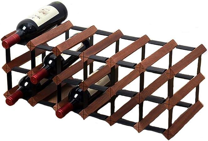 Estante para vinos -18 botellas de madera en la encimera estante de almacenamiento de vino estante para exhibición de vinos - adecuado para bares, bodegas, gabinetes, sala de estar (color retro): Amazon.es:
