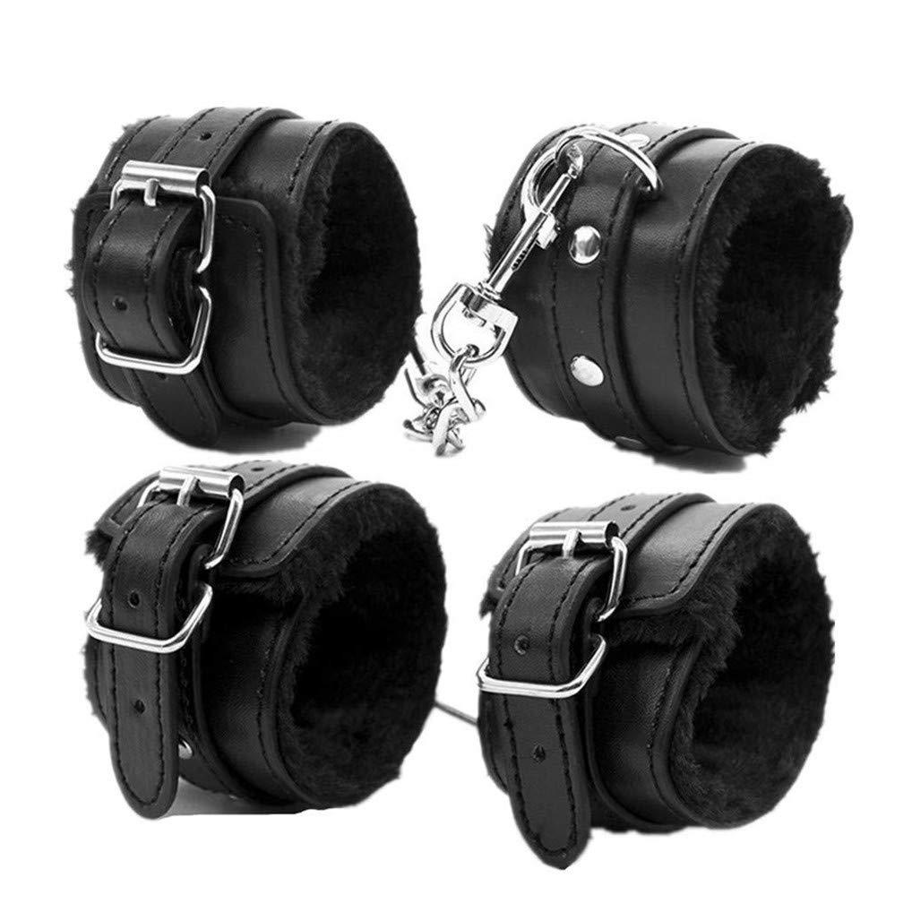 Kanasi Adjustable PU Leather Handcuffs Set (Black) by Kanasi