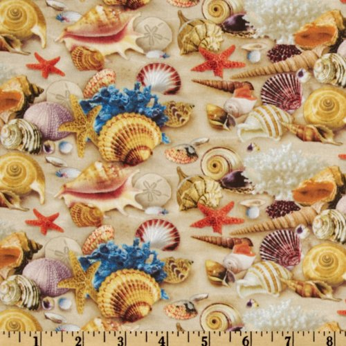 Children Of The Sea II Shells Sand Fabric By The Yard (Nautical Cotton Fabric)