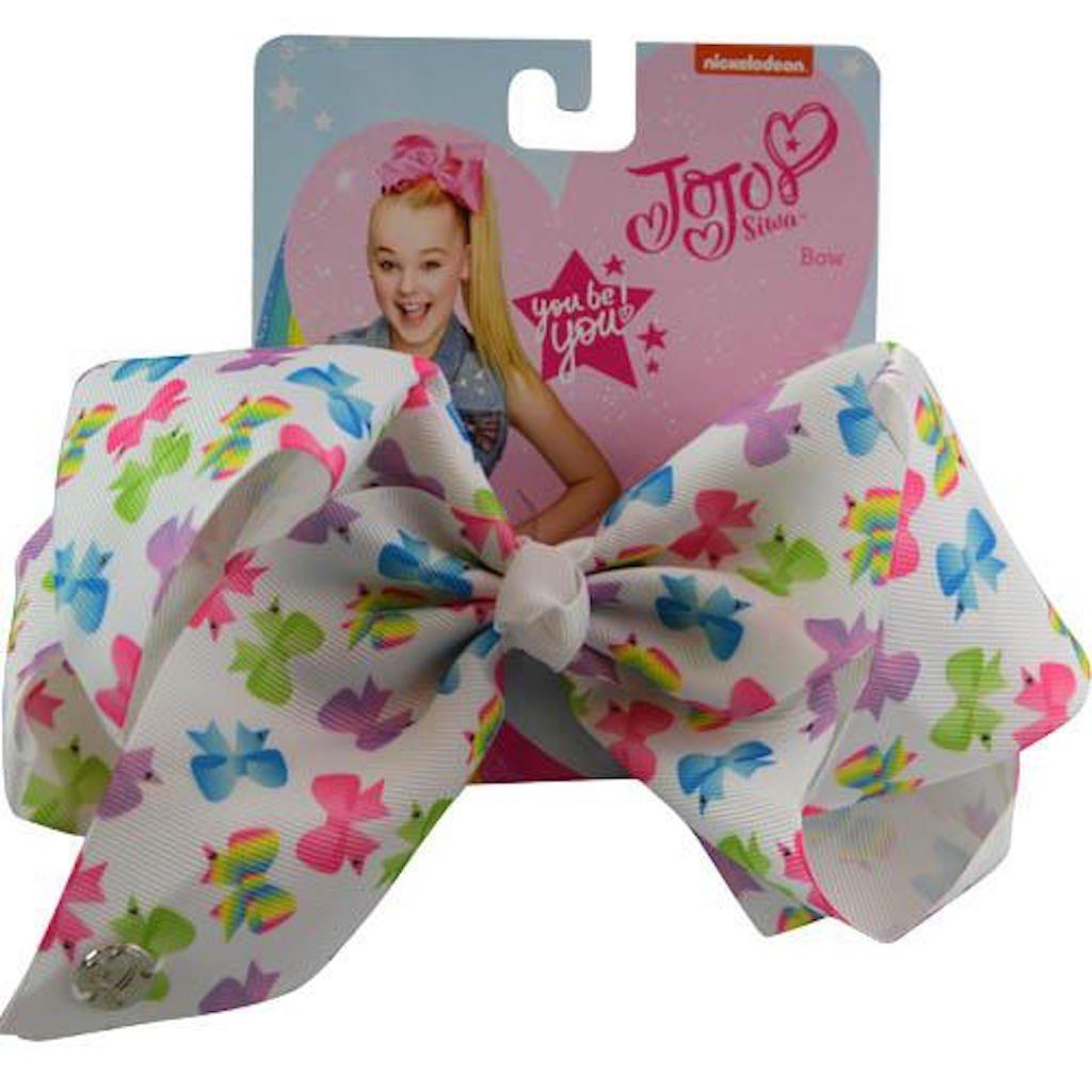 JoJo Siwa Large Cheer Hair Bow White w Colored Bows