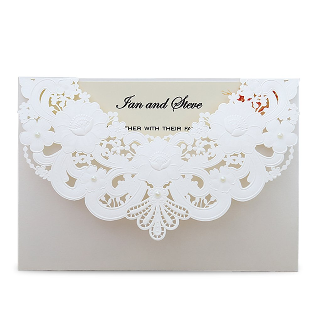 Doris Home Ivory Laser Cut Flora Lace invitation cards with Blank Inner Sheets and envelopes for wedding invitations, Bridal Shower, Engagement, Birthday, Baby Shower (50) (White 50pcs)