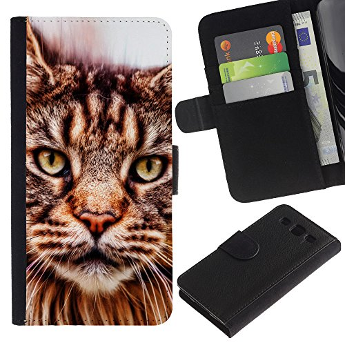 EuroCase - Samsung Galaxy S3 III I9300 - American bobtail Maine coon - Cuero PU Delgado caso cubierta Shell Armor Funda Case Cover