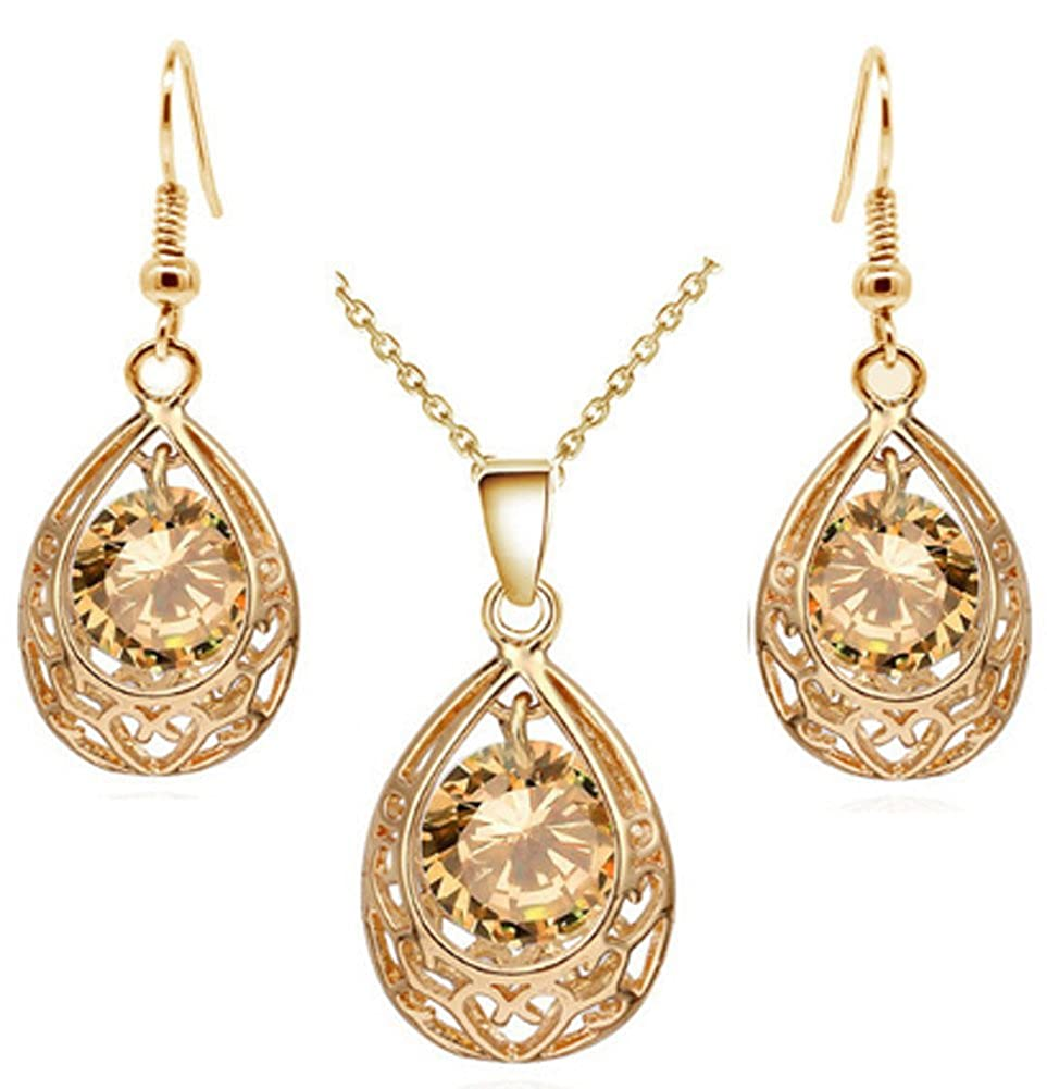 18k gold earing and necklace women crystal beads AmaranTeen