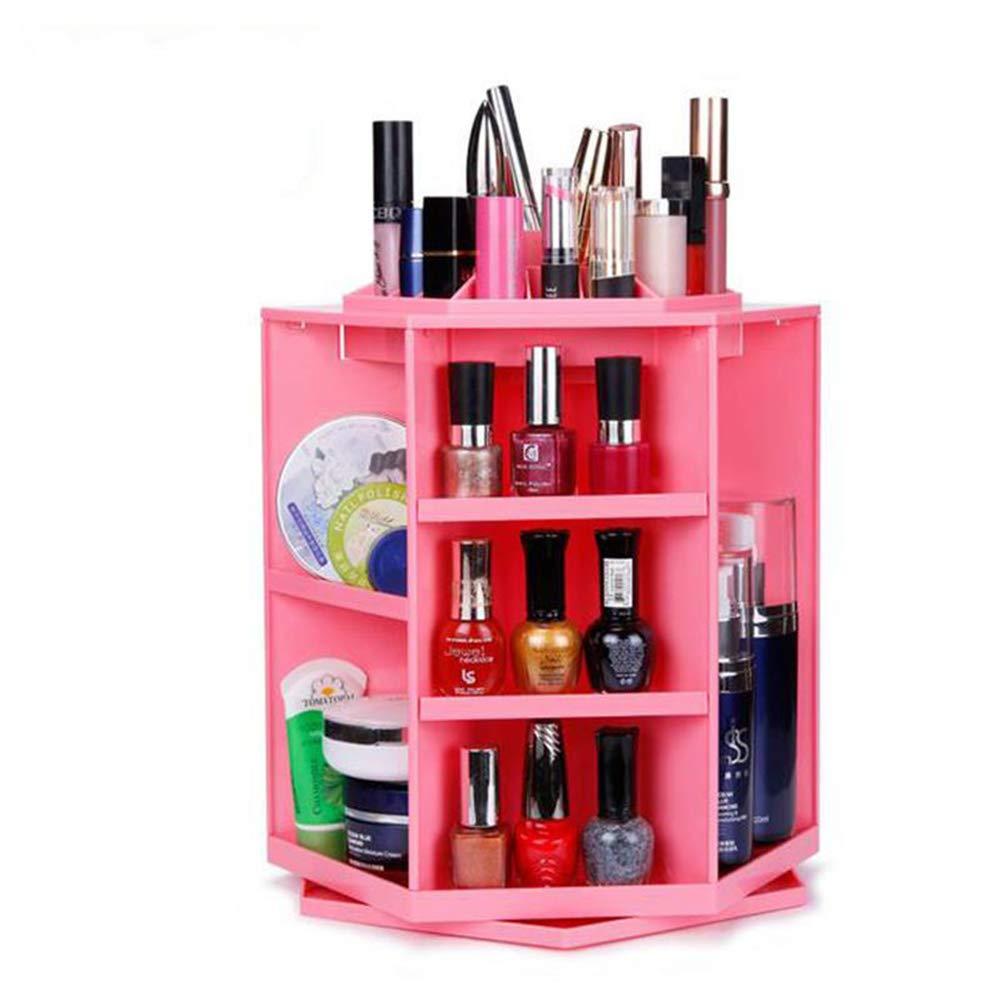 ZXLIFE@ Caja De Almacenamiento Cosmética Ajustable Multifuncional, Organizador De Maquillaje Plástico ABS De Gran Capacidad, Rotación De 360 Grados Maquillaje Caja De Tren,Pink [Clase de eficiencia energética A]