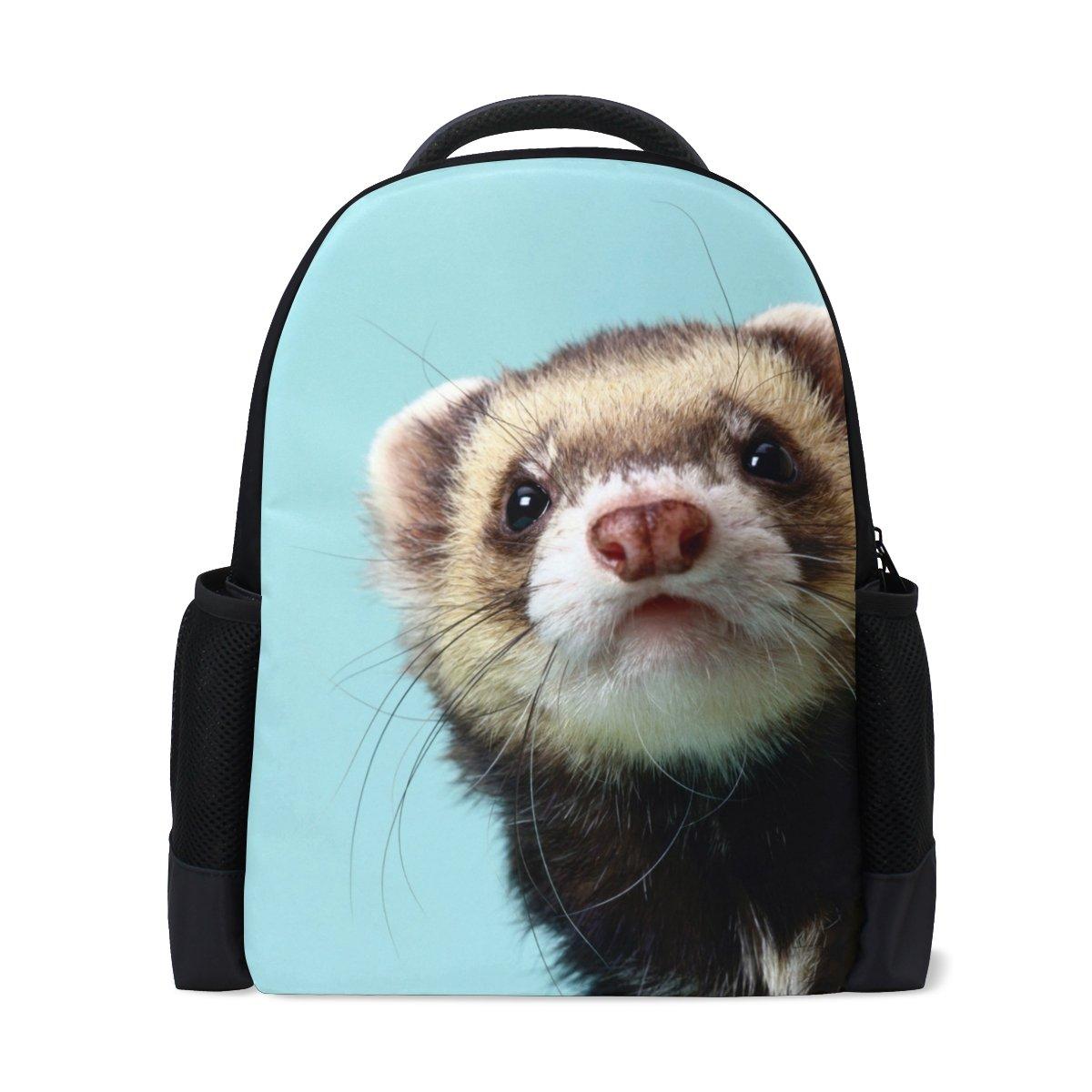 Lovely Ferret Faceバックパックスクールバッグ軽量Book Bags Ruchsack Collegeバックパックデイパック学生ガールズ/Boys   B07FRZVN11