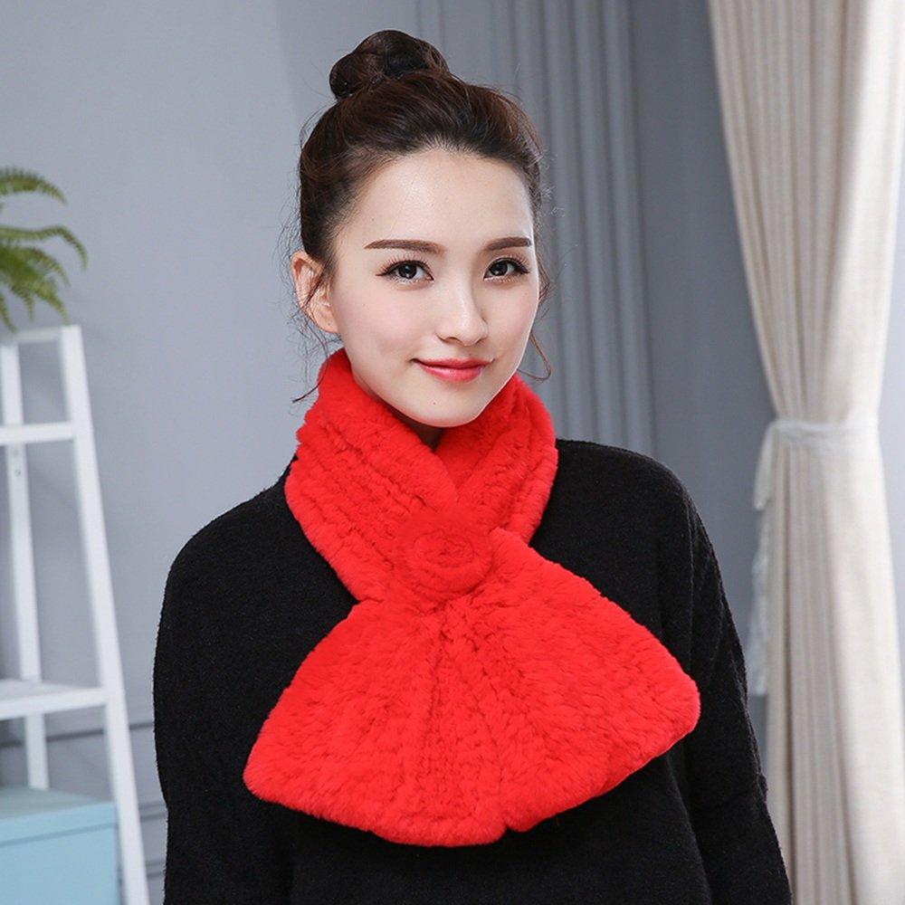 MEIDUO Bufandas y Chales Bufanda de señora hecha a mano de doble cara con cuello de bufandas invierno cálido moda mantener caliente 12 * 88 cm ( Color : Rojo )