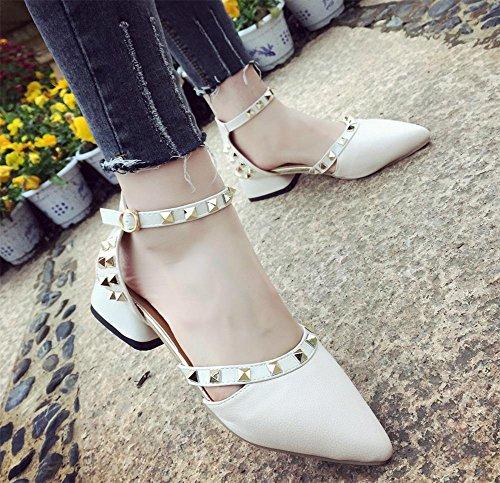 Sommer wies Sandalen mit dicken mit Weiden Spikes in flachen Mund weibliche Sandalen meters white