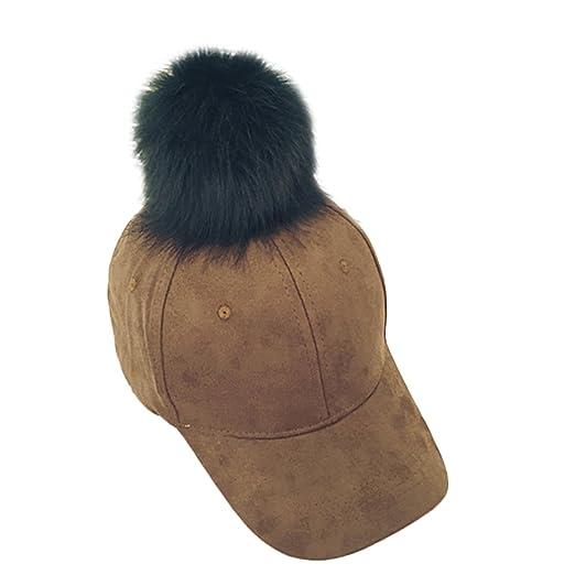 Amazon.com  Raylans Chic Women Faux Fox Fur Pom Pom Ball Suede Adjustable Baseball  Cap Hip-Hop Hat da544f347c8