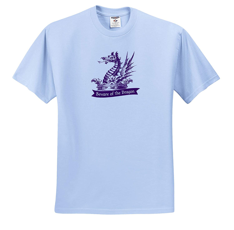 Heraldic Dragon and Text in Purple Beware of The Dragon T-Shirts 3dRose Russ Billington Designs